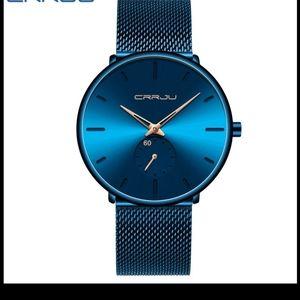 New blue dress watch for men thin wristwatch